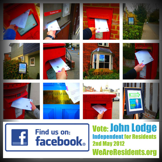 Supporters of John Lodge have been using the WeAreResidents.org Facebook page to share pictures of their posters and them mailing in their postal votes